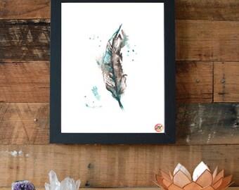 Feather Symbol Giclee Fine Art Print