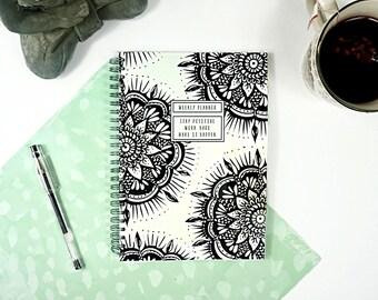 Weekly Planner - A5 - Weekly Schedule - Undated - Mandala Design