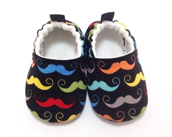 Mustache Baby Shoes, Baby Slippers, Soft Sole Baby Shoes, Baby Booties, Toddler slippers, Cloth Baby Shoes, Baby Shower Gift