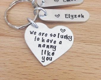 Personalised nanny gift, nana, gifts, grandma gift, personalized keyring, keychain, gift for nanny, nanna, her, name keyring, mothers gift