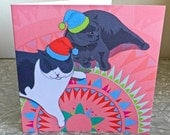 Cat greeting Card 'Winston and Nelson Wait for Santa' British Shorthair with Nordic pattern greeting card blank inside