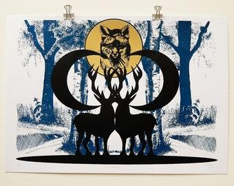 Fox Kingdom hand-pulled screen print, fox, moon, stags