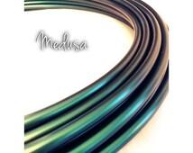 "NEW Medusa Color Shifting Colored Polypro Hula Hoop// Dance Hoop// Performance Hoop// 5/8""// Color Morph Polypro Black Green Teal Shimmer"