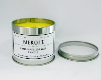 Neroli Candle, Neroli Scent, Scented Candle, Tin Candle, Large Candle, Strong Candle, Floral Candle, Spring Scent, Floral Scent