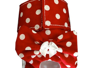 Polka Dot Doggie Panties, Cute Dog Diaper, Removable Bow for Washing