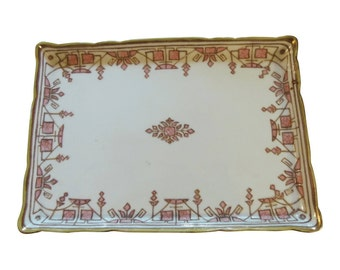 Antique Nippon Hand Painted Porcelain Pink Gilt Art Deco Vanity Tray
