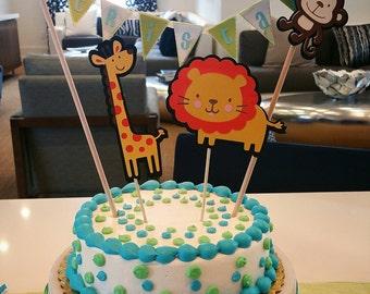Jungle theme Cake topper and mini banner