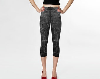 Brick Wall Capris XS-S-M-L-XL Photo Gray Grey Black White Wearable Art Clothes Women Teen Ladies Pants Clothing Fashion