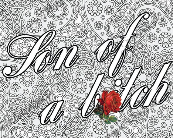 Btch Adult Coloring Page The Swearing Words Son Of A Btch