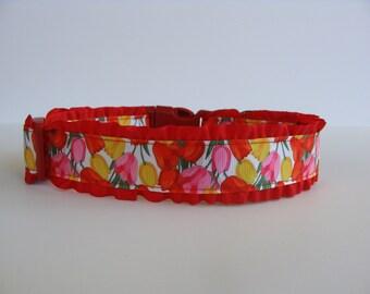 Tulip Flower Red Ruffle Dog Collar - READY TO SHIP!