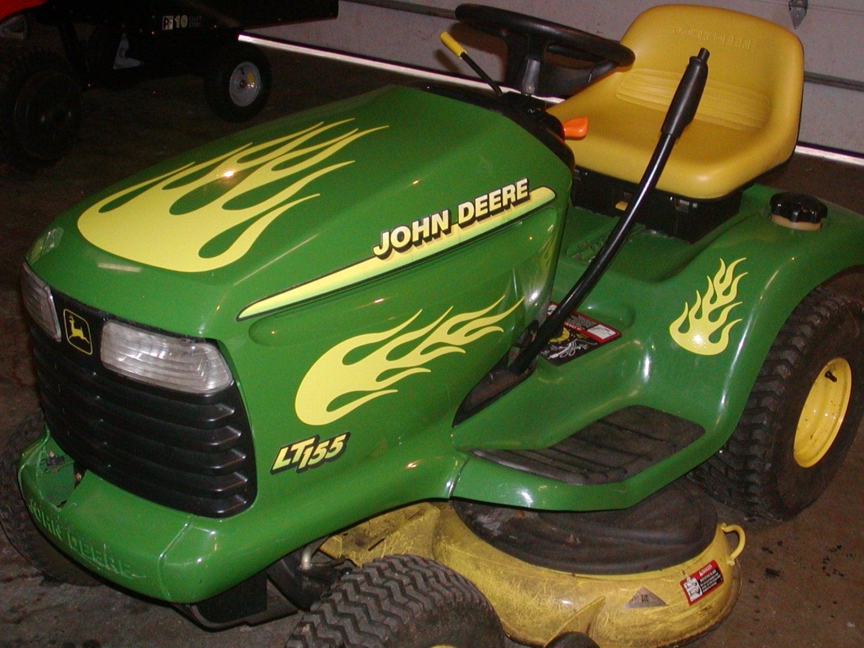 Custom Lawn Tractor Hood : Lawn tractor flame graphics set fit all tractors john deere