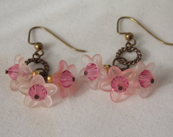Pink Flower Earrings Pink Lucite Flower Crystals Earrings  E45