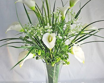 White/offwhite/ivory, floral arrangement / centerpiece, Real Touch flowers, silk, wedding, home decor, gift, Calla Lily, Baby's Breath