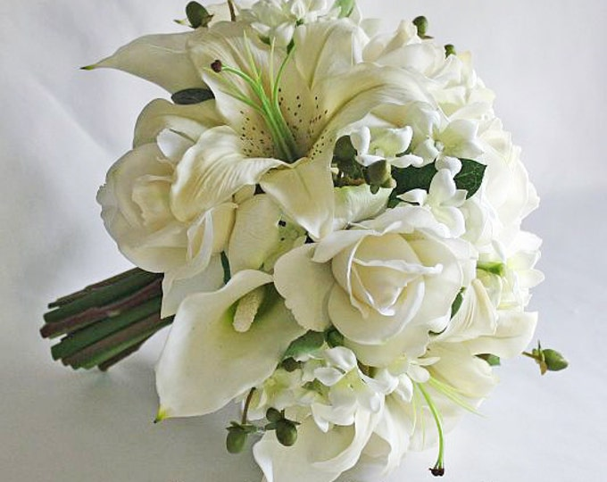 White Off Ivory Bouquet Set Real Touch Flowers Roses