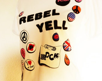 Rebel Yell Print Shirt white Button Punkrock