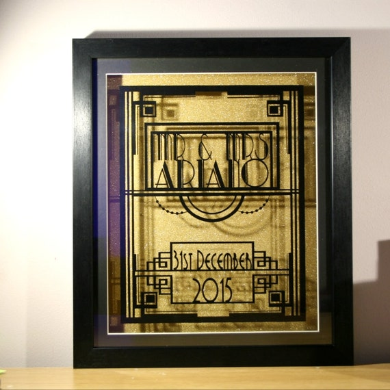 Art Deco Wedding Gift : Art Deco Wedding Paper Anniversary Art Deco Wall by PandoraCuts