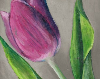 Original Oil Pastel Drawing: Tulip