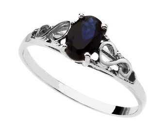 925 Sterling Silver Imitation SAPPHIRE Youth September Birthstone Ring USA 5