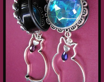 "The Cat and the Moon EAR PLUGS gem dangle earrings pick gauge 1/2"", 9/16"", 5/8"", 11/16"", 7/8"", 1"", 1 1/16"" aka 12, 14, 16, 18, 22, 25, 28mm"