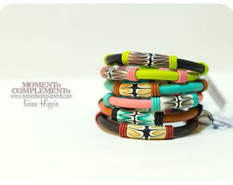 Bangles summer colors handmade polymer clay & organic patterns. Metal free friendship bangles for girls and women.