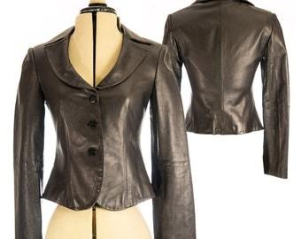 Armani Black Leather Jacket - Size 2