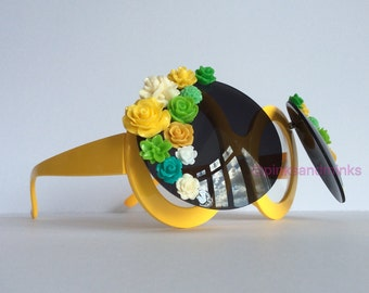 Chelsea In Bloom II - Oversized Flip Up Yellow Round Embellished Sunglasses Eyeglasses Sunnies Floral