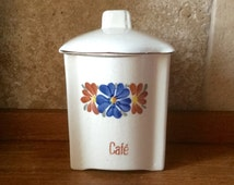 Vintage French cream ceramic coffee storage jar / cannister, labelled Café, with floral motif