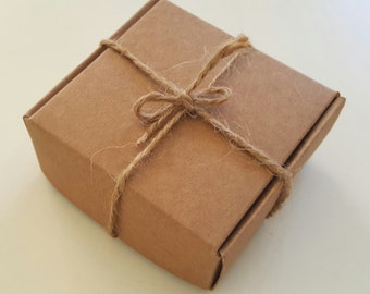 10 BROWN Kraft boxes 6.5 x 6.5 x 2.6cm