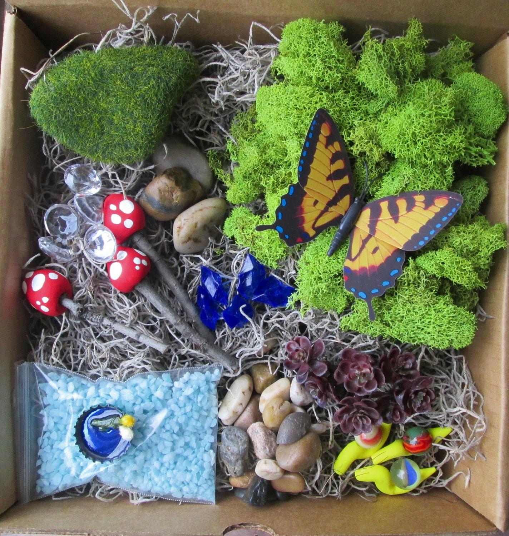 Blue DIY Fairy Garden Kit Micro Terrarium Kit Terrarium