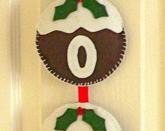 Hand Stitched Felt NOEL Christmas Pudding decoration