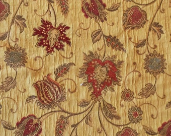 Designer Upholstery Fabric Gold Floral Print Chenille Accents