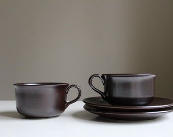 Set of 2 Scandinavian Höganäs Keramik Cup and Saucer Swedish Vintage Dark Brown Hoganas Stengods Stoneware Scandinavian Design
