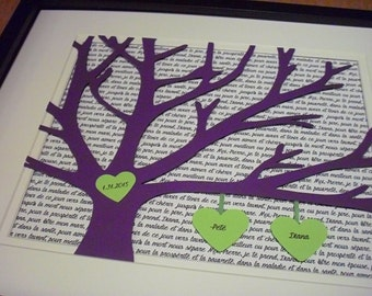 Marriage Gifts, Wedding Song Lyric Art, Personalized 11X14 Unframed 3D Paper Tree Wedding Gift, Anniversary, Wedding Song Lyrics