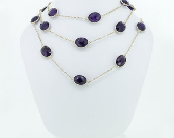 Amethyst Gemstone Chain Necklace Yellow Gold Plated Long Chain Necklace Silver Chain Necklace Beaded Chain Necklace Jewelry VDRA-0054