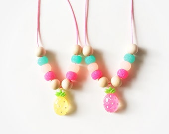 Pineapple necklace Pink and yellow