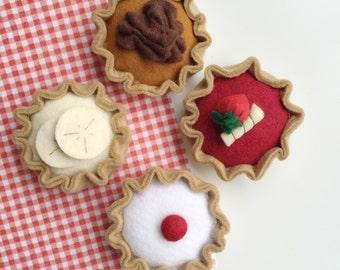 Felt Food Pretend Play Tarts, Pecan Pie, Banana, Berry, Bakewell Tart, Play Shop, Pretend Food, Play Kitchen