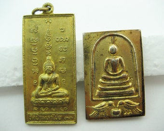 Free International Shipping.  Two brass Buddha amulets from Thailand circa 1990's