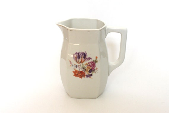 White Porcelain Pitcher decorated with flowers - Soviet vintage jug - shabby chic flower vase - riga porcelain fabric - RPF