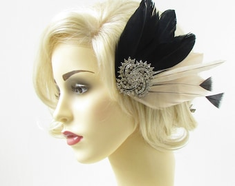 Black Cream Ivory Silver Feather Fascinator Headpiece Diamante Hair 1920s 297