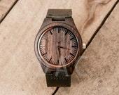 SALE! Wedding Gift, Boyfriend Gift, Black mens wooden watch, Custom watch, Groomsmen gifts, Engraved wooden watch, Anniversary Gifts men