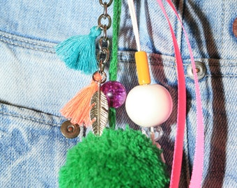 Key chain, pom pom, tassel, ceramics