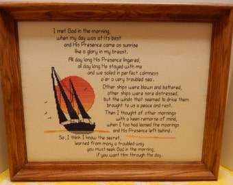 Hand Stitched Finished Framed Counted Cross Stitch Sailboat with Verse  Beautifully Completed in Wood Frame Picture is Padded