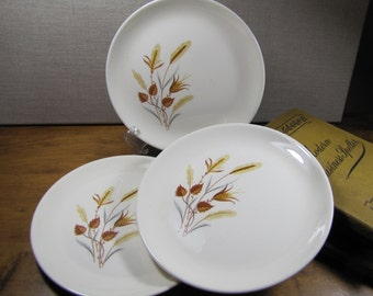 Vintage Wheat and Brown Leaf Pattern Dessert Plates - Set of Three (3)