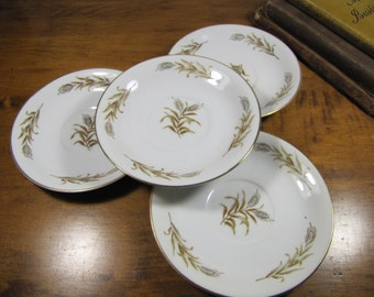 Vintage Thames China Saucers - Pattern THA1 - Gold and Brown Wheat - Made in Japan - Set of Four (4)