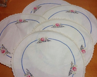 Set of Five Round Needlepoint Embroidered Doilies 10""