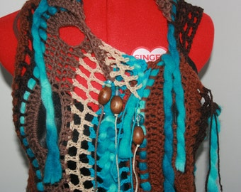 Made To Order~Freeform Crochet Long Top. 'Wood And Water' Collection. Pixie Forest Fairy top. Unique.One Of A Kind Wearable Art.