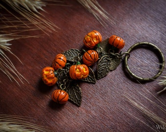 Keychain with pumpkins from polymer clay Halloween 2