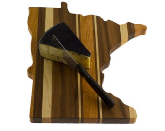 Solid Hardwood - Minnesota Cutting Board - Cutting Board in the Shape of MN made out of Hardwood - Cheese Board