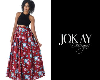 Blue & Red Floral Maxi skirt