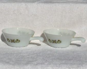 2 Fire King Meadow Green Soup - Chili Bowls Anchor Hocking set of 2